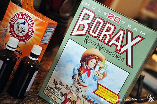 Baking soda, borax, and essential oils complete my ingredients list.