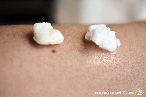 Shea butter on the left, coconut oil on the right. They've been sitting on my arm for about a minute—notice how the coconut oil is melting quite quickly, and the <a href=