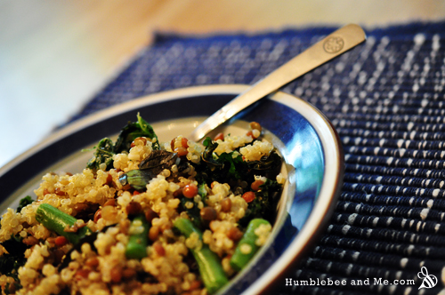 Quinoa & Garlic Roasted Kale Salad
