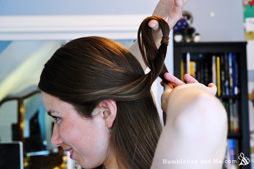 Flip the ponytail through and turn inside out. I generally twist it about three times.