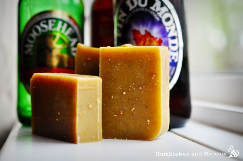 I didn't grind the barley for this beer soap very finely, and while those little dots look lovely, this soap is a bit strong on the scrubby side (by my standards, at least).