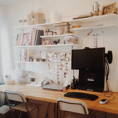 One side of my compact work space ... It's a creative mess!