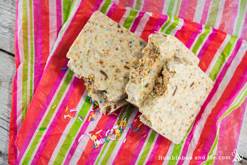 Use up all your old soap scraps by making a big batch of Fairy Bread Soap!