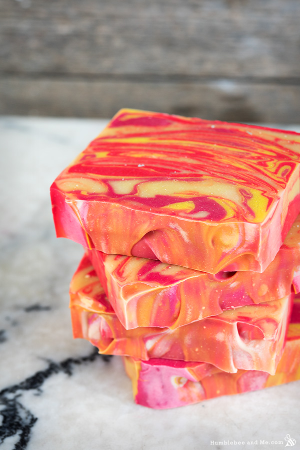 Homemade Citrus Summer Punch Swirl Soap | Most-Liked Homemade Soap Recipes For Frugal Homesteaders